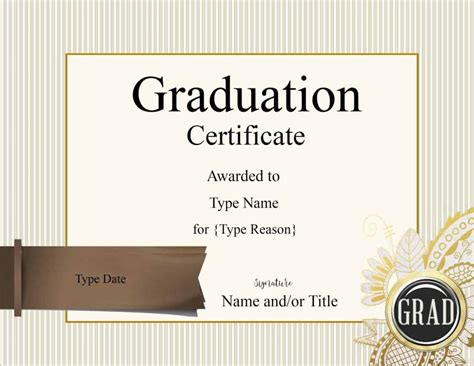 graduation certificate template customize  print