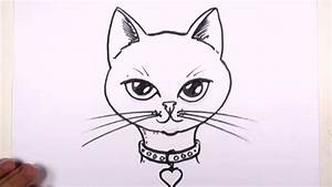 How, To, Draw, A, Cat, Face, With, Collar, And, Heart, Pendant