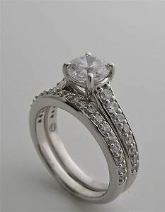 Diamond accent bridal engagement ring setting and wedding for Wedding and engagement ring set