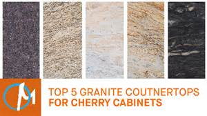top 5 granites countertops for cherry cabinets