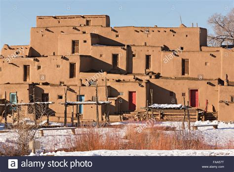 Ancient Adobe Homes In The Ancient Native American Taos