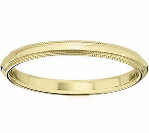 men39s 14k yellow gold 25mm milgrain wedding band qvccom With qvc mens wedding rings