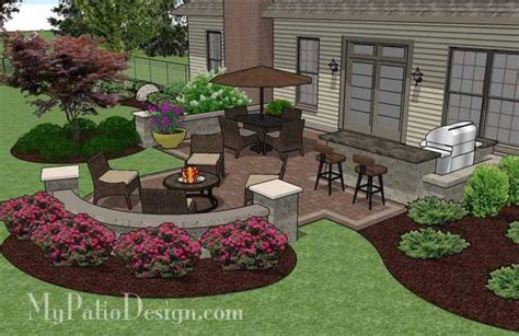 Patio And Backyard Designs by Creative Backyard Patio Design With Seating Wall