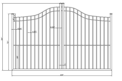 standard fence height olympian smooth top wrought iron single driveway gates