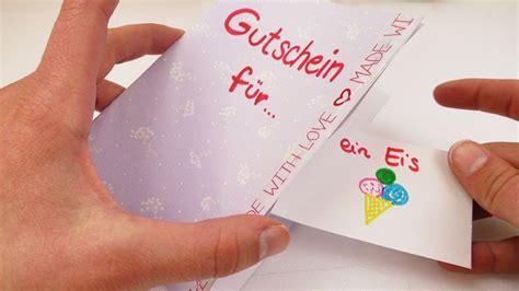 gutschein selber basteln ideen diy gutschein tolle geschenk idee karte basteln mit gutscheinen zum rausrei 223 en einfach