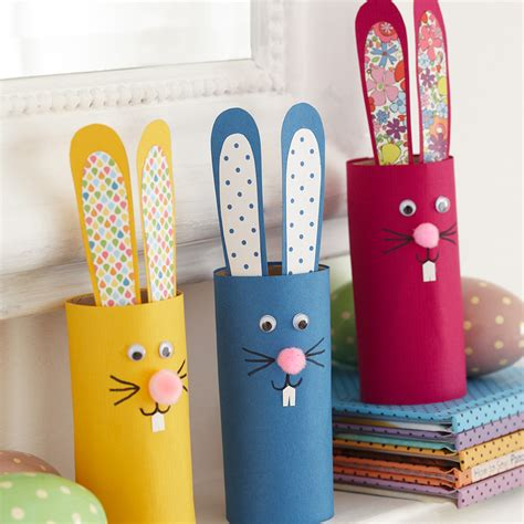 ideas for crafts make a cute bunny with toilet roll