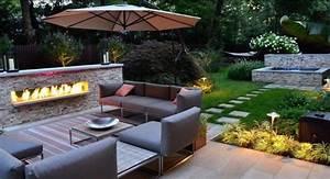 Terrasse Gestalten Modern : terrasse gestalten mit kontrasten feuer und wasser einbaukamin und wasserspiel garten feuer ~ Watch28wear.com Haus und Dekorationen