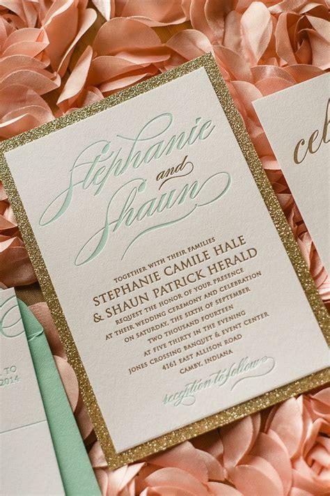 glittery gold wedding invitation  mint details