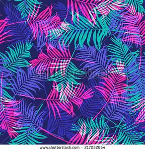 Tropical Palm Leaf Pattern Neon Colored Stock Vector