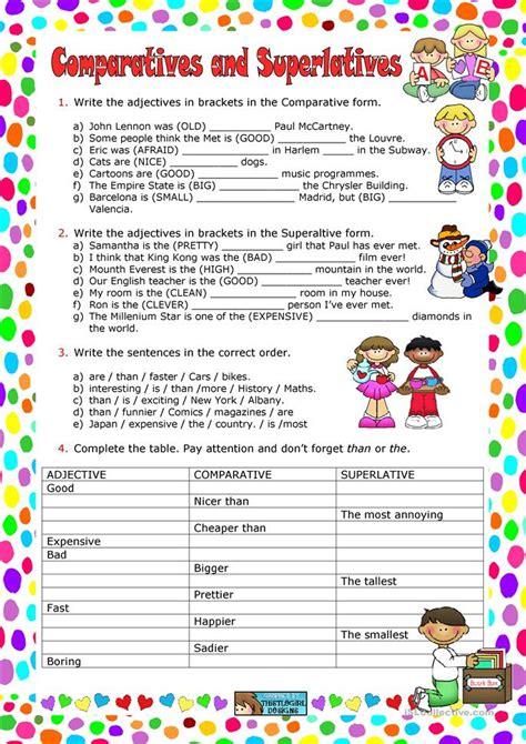 comparatives and superlatives worksheet free esl printable worksheets made by teachers
