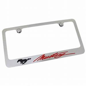 Ford Mustang Red Script License Plate Frame (Chrome) - Walmart.com - Walmart.com
