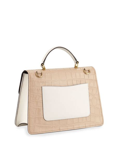 coach  parker   tone croc embossed leather top handle bag neiman marcus