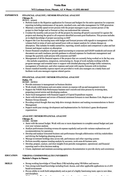 Financial Analyst Resume by Analyst Senior Financial Analyst Resume Sles Velvet