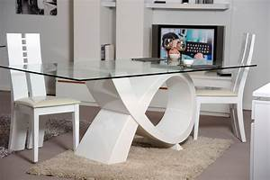 table de salle a manger design blanche en verre amelie With table salle a manger design