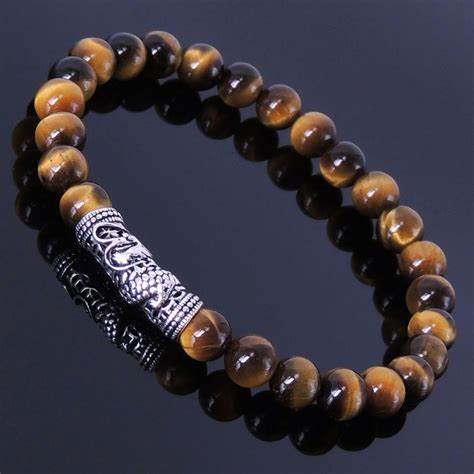Men Bracelet Healing Gemstone Tiger Eye Sterling