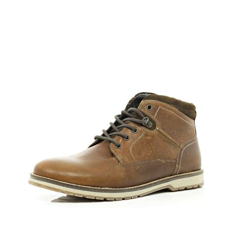 light brown boots mens river island light brown lace up boots in brown for men lyst
