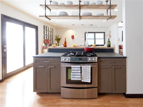 hanging kitchen cabinets from ceiling contemporary kitchen with ceiling hung shelving hgtv 6988