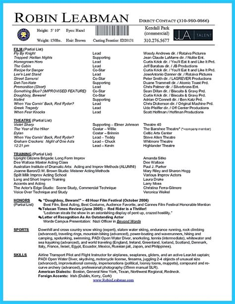 Acting Resume Accents by Brilliant Acting Resume Template To Get Inspired