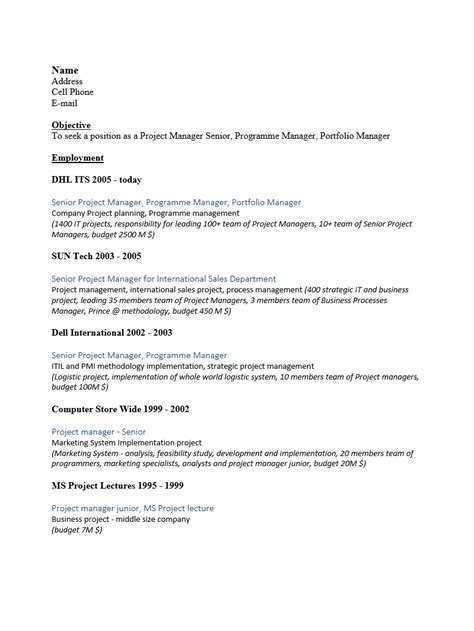 Senior Project Manager Resume Pdf by Free Senior Project Manager Resume Template Sle Ms Word