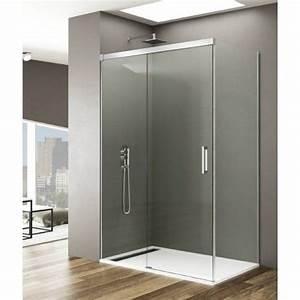 Paroi de douche coulissante avec fixe porte lateral for Portes de douche coulissantes pas cher