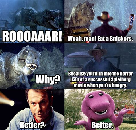 Eat A Snickers Meme - snickers meme jurassic park by dr anime on deviantart