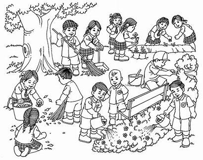 Cleaning Drawing Drawings Surrounding Students Coloring Colouring