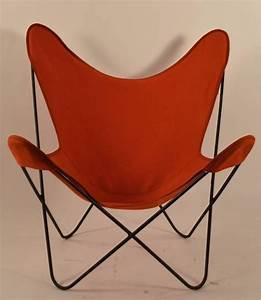 Butterfly Chair Original : hardoy butterfly chair with original orange canvas sling seat at 1stdibs ~ Frokenaadalensverden.com Haus und Dekorationen