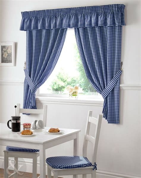 gingham check kitchen curtains ready  pencil pleat
