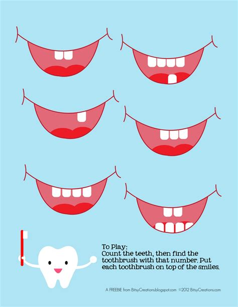 bitsycreations free preschool tooth counting printable 958 | Tooth1
