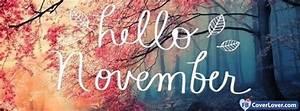Hello November Leaves seasonal Facebook Cover