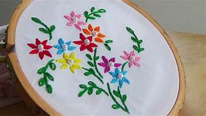 Hand Embroidery: Close Fly Stitch Flowers - YouTube ...
