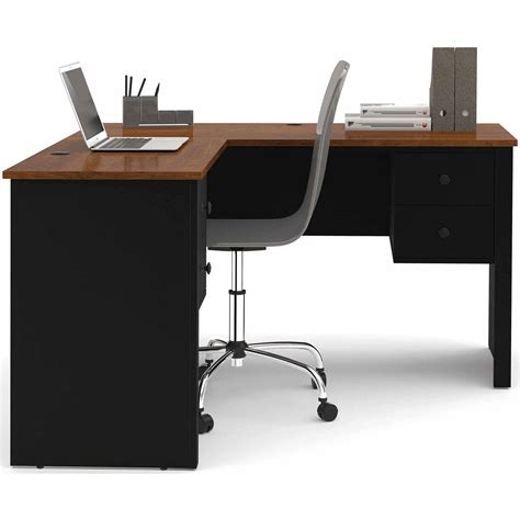 mainstays computer desk black silver finish mainstays l shaped desk with hutch finishes