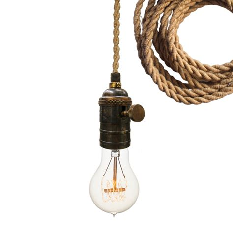 nautical ship rope cloth cord bronze bare bulb pendant