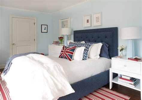 Red And Blue Bedroom With Baby Blue Lamps Contemporary