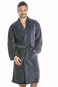 men supersoft fleece navy bathrobe With robe de chambre pour homme