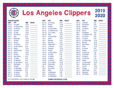 printable   los angeles clippers schedule