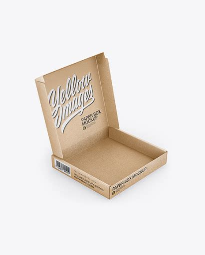 Two mockups showing a closed and open mailing box. Free Opened Kraft Paper Box Mockup (PSD)