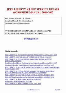 Jeep Liberty Kj Service Repair Workshop Manual 2004