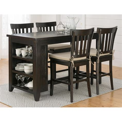 These dining sets are great for small apartments maximizing living space thanks to their reduced surface area. Jofran - Prospect Creek Reclaimed Pine Counter Height Table With 3 Shelf Storage - 257-60