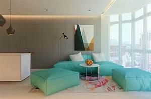 Tapis Vert Menthe : meubles et d cor couleur gris dans 5 appartements modernes ~ Melissatoandfro.com Idées de Décoration