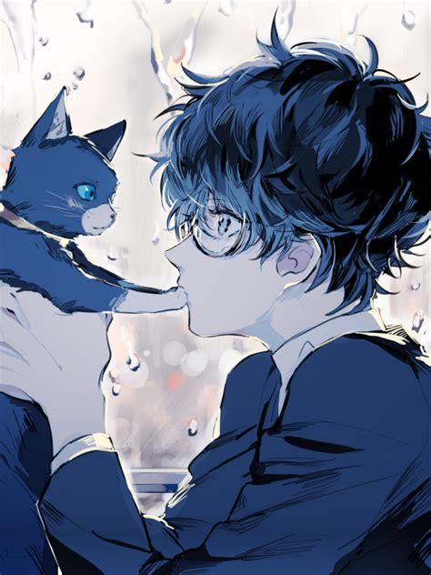 Download 768x1024 Persona 5 Kurusu Akira Anime Boy Cat Glasses Profile View Cute