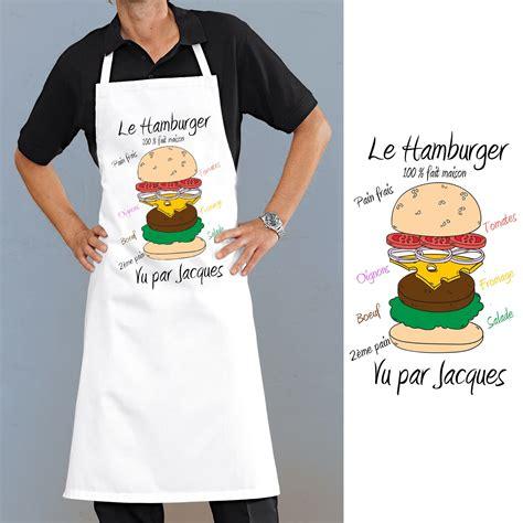 tablier cuisine homme humoristique tablier de cuisine motif hamburger personnalisé cadeau