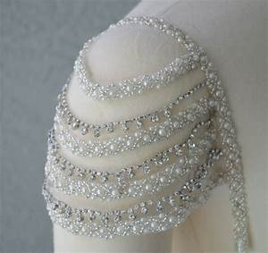 detachable add on beaded ivory and rhinestone cap sleeves set With adding beading to wedding dress