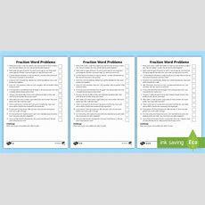 Year 5 Fraction Word Problems Differentiated Worksheet