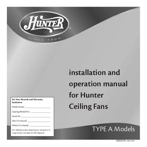 hunter fan ceiling fans installation and operation manual