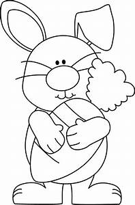 Black and White Bunny with a Giant Carrot Clip Art - Black ...