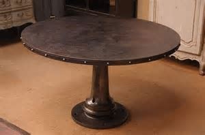 Vintage French Industrial round dining table with rivets