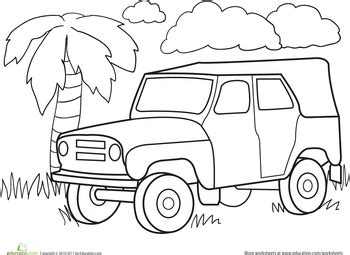 safari jeep coloring page color a car jungle jeep jeeps worksheets and children