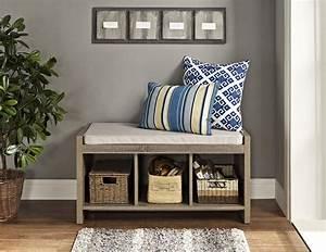 Dorel, Penelope, Sonoma, Oak, Entryway, Storage, Bench, With, Cushion