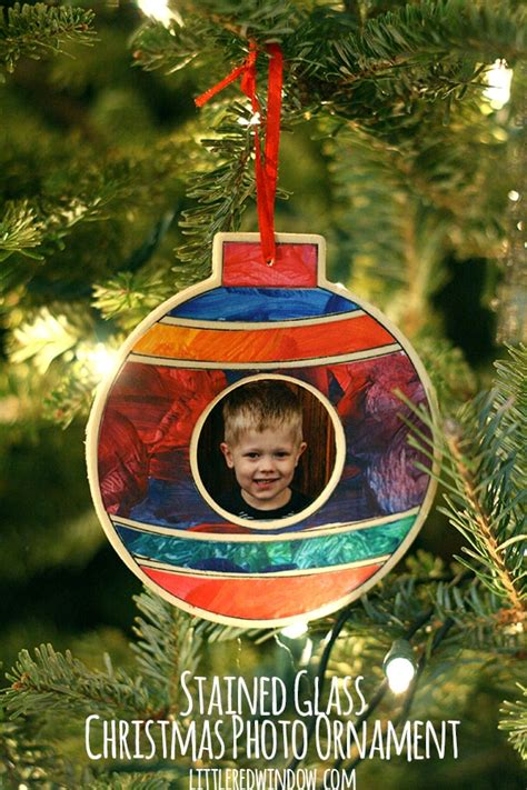 stained glass christmas photo ornament  red window